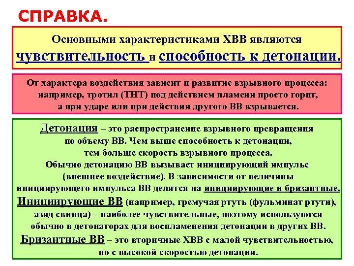 СПРАВКА. Основными характеристиками ХВВ являются чувствительность и способность к детонации. От характера воздействия зависит