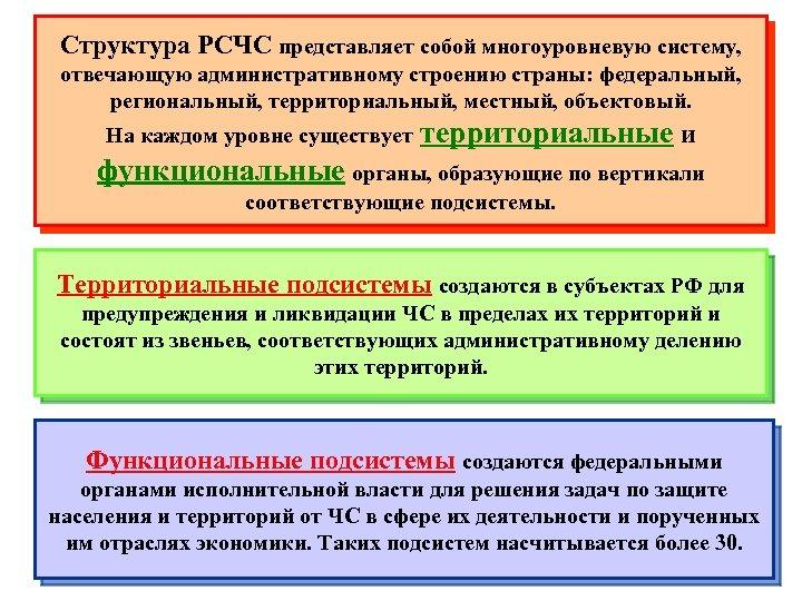 Структура РСЧС представляет собой многоуровневую систему, отвечающую административному строению страны: федеральный, региональный, территориальный, местный,