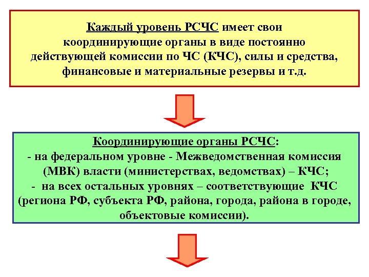 Каждый уровень РСЧС имеет свои координирующие органы в виде постоянно действующей комиссии по ЧС