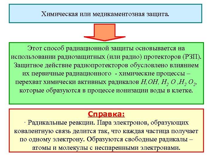 Химическая или медикаментозная защита. Этот способ радиационной защиты основывается на использовании радиозащитных (или радио)