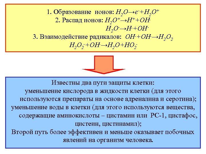 1. Образование ионов: Н 2 О→е-+Н 2 О+ 2. Распад ионов: Н 2 О+→Н++ОН.