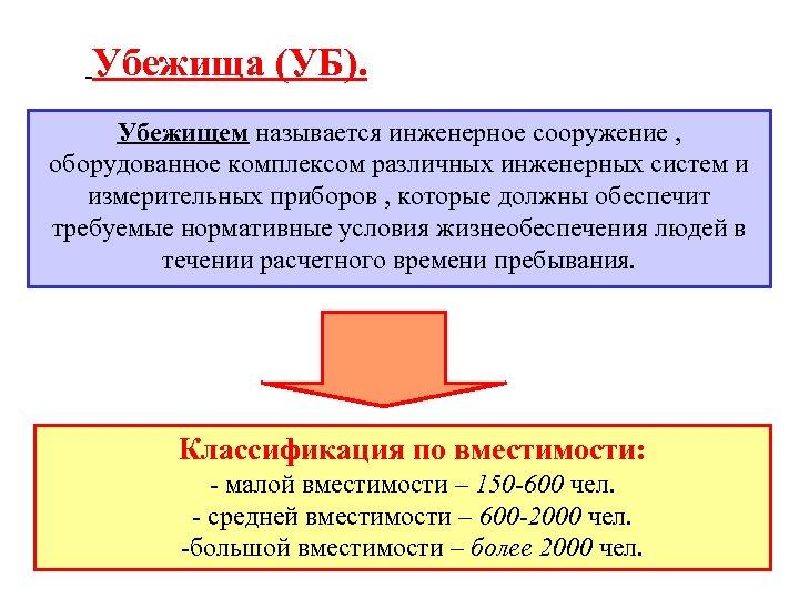 Убежища (УБ). Убежищем называется инженерное сооружение , оборудованное комплексом различных инженерных систем и измерительных