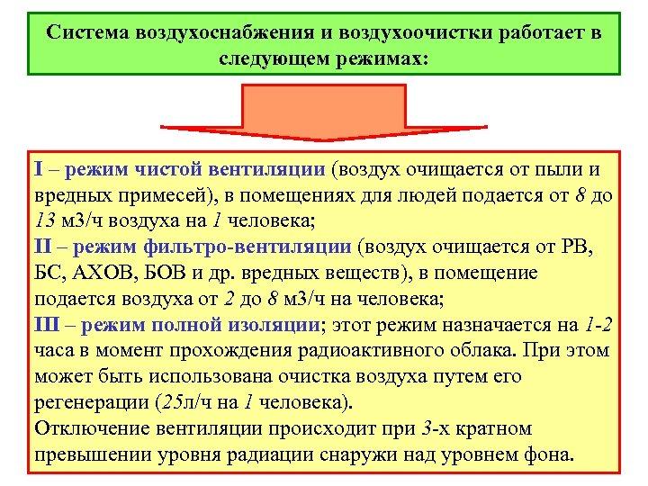Система воздухоснабжения и воздухоочистки работает в следующем режимах: I – режим чистой вентиляции (воздух