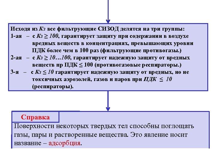 Исходя из Кз все фильтрующие СИЗОД делятся на три группы: 1 -ая – с