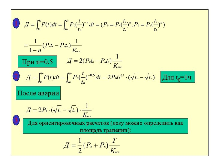 1 При n=0. 5 2 Для t 0=1 ч После аварии 3 Для ориентировочных