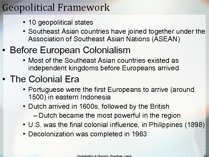 Geopolitical Framework • 10 geopolitical states • Southeast Asian countries have joined together under