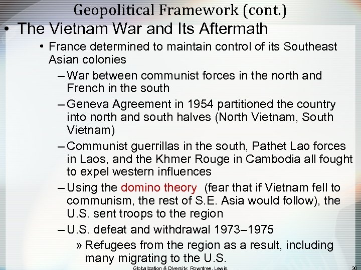 Geopolitical Framework (cont. ) • The Vietnam War and Its Aftermath • France determined