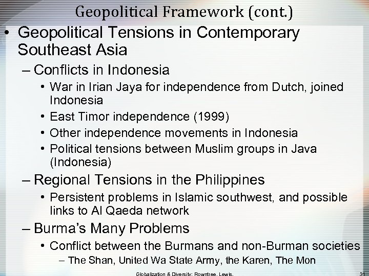 Geopolitical Framework (cont. ) • Geopolitical Tensions in Contemporary Southeast Asia – Conflicts in