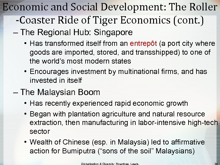 Economic and Social Development: The Roller -Coaster Ride of Tiger Economics (cont. ) –