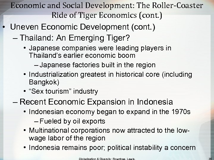 Economic and Social Development: The Roller-Coaster Ride of Tiger Economics (cont. ) • Uneven