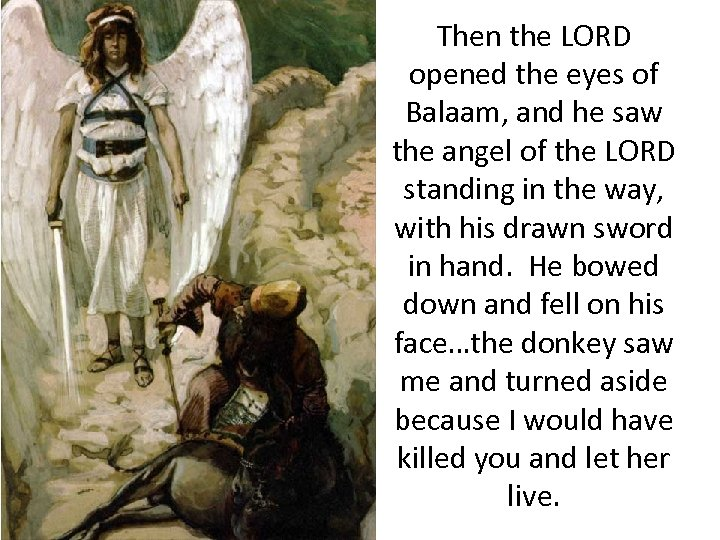 Then the LORD opened the eyes of Balaam, and he saw the angel of
