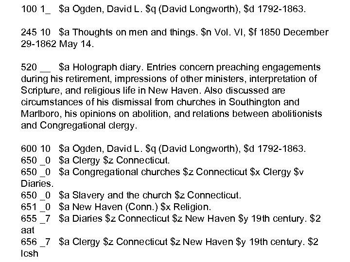 100 1_ $a Ogden, David L. $q (David Longworth), $d 1792 -1863. 245 10