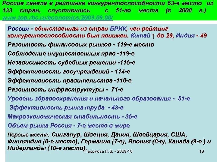 Россия заняла в рейтинге конкурентоспособности 63 -е место из 133 стран, спустившись с 51