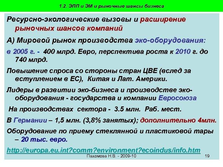 1. 2. ЭПП и ЭМ и рыночные шансы бизнеса Ресурсно-экологические вызовы и расширение рыночных