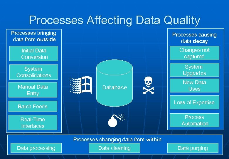 Processes Affecting Data Quality Processes bringing data from outside Processes causing data decay Initial