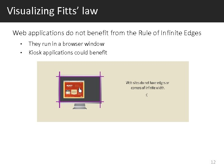 Visualizing Fitts' law Web applications do not benefit from the Rule of Infinite Edges