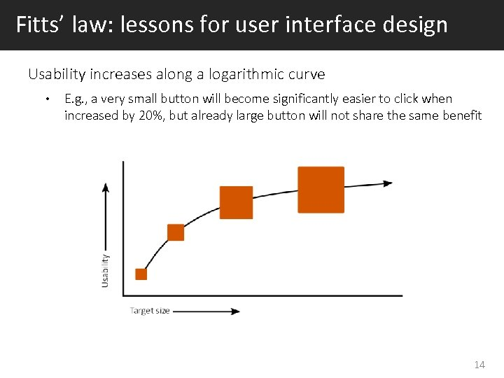 Fitts' law: lessons for user interface design Usability increases along a logarithmic curve •
