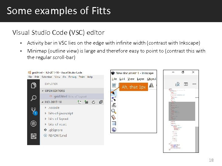 Some examples of Fitts Visual Studio Code (VSC) editor Activity bar in VSC lies