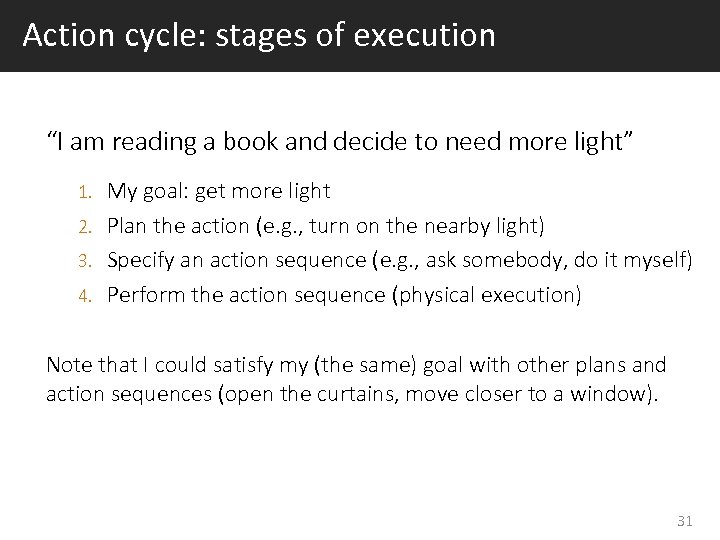 "Action cycle: stages of execution ""I am reading a book and decide to need"