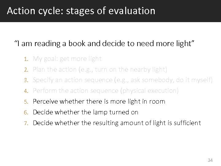 "Action cycle: stages of evaluation ""I am reading a book and decide to need"