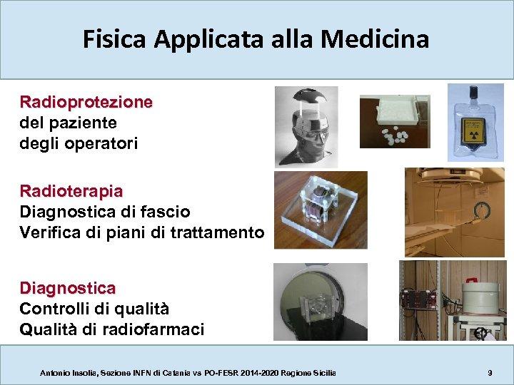Fisica Applicata alla Medicina Radioprotezione del paziente degli operatori Radioterapia Diagnostica di fascio Verifica