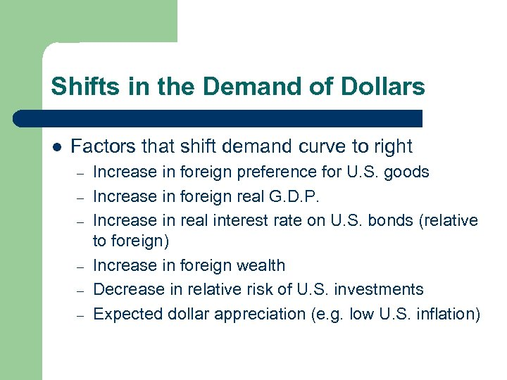 Shifts in the Demand of Dollars l Factors that shift demand curve to right