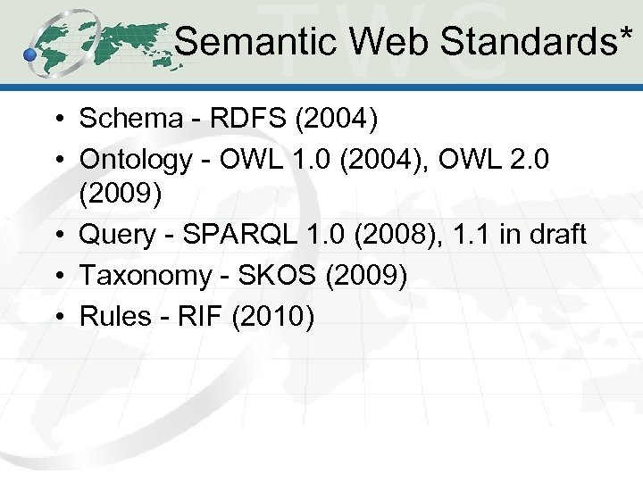 Semantic Web Standards* • Schema - RDFS (2004) • Ontology - OWL 1. 0