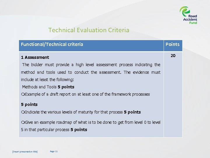 Technical Evaluation Criteria Functional/Technical criteria 20 1 Assessment The bidder must provide a high