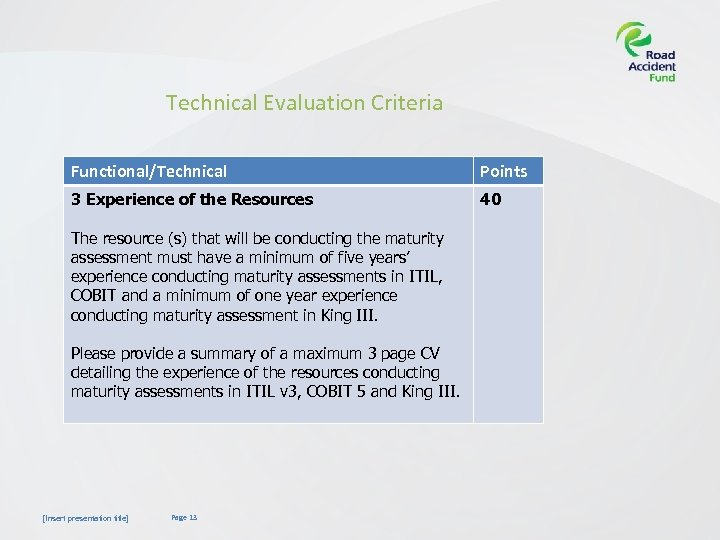 Technical Evaluation Criteria Functional/Technical Points 3 Experience of the Resources 40 The resource (s)