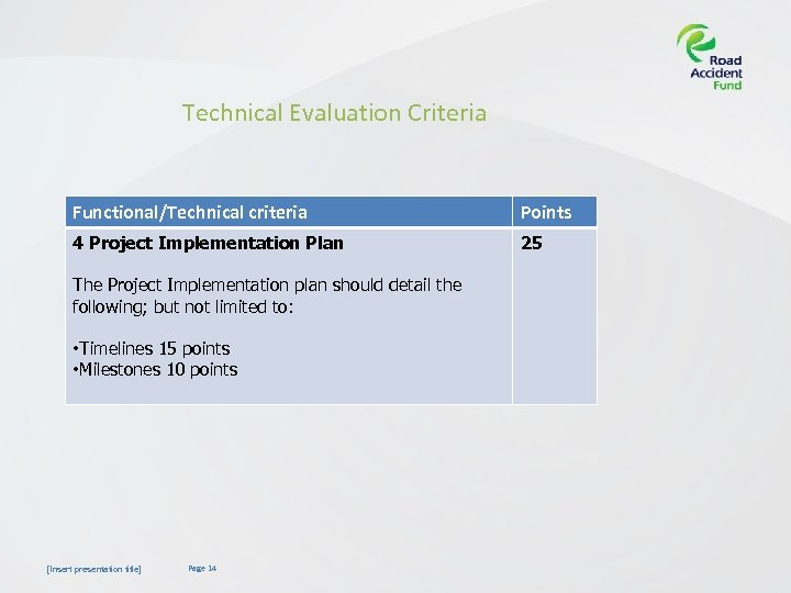 Technical Evaluation Criteria Functional/Technical criteria Points 4 Project Implementation Plan 25 The Project Implementation