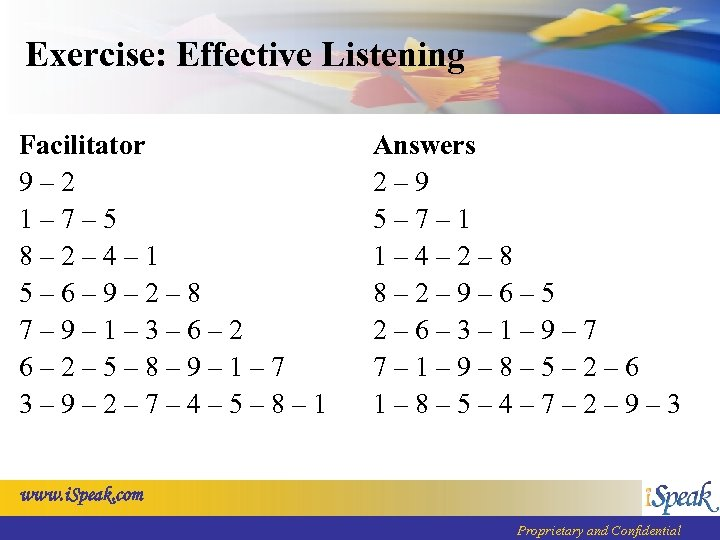 Exercise: Effective Listening Facilitator 9– 2 1– 7– 5 8– 2– 4– 1 5–