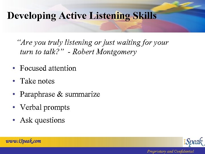 """Developing Active Listening Skills """"Are you truly listening or just waiting for your turn"""
