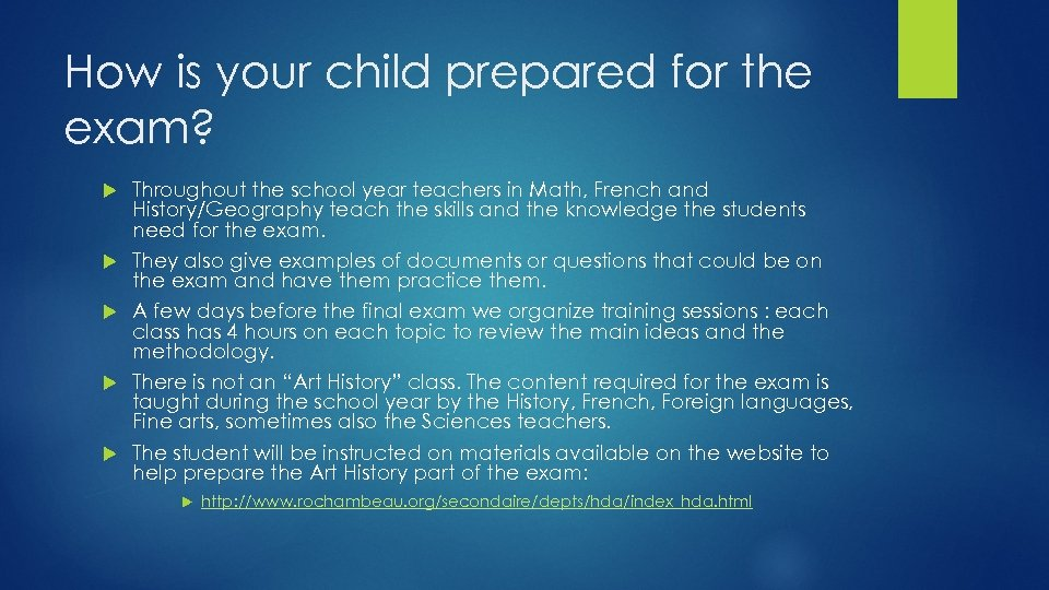 How is your child prepared for the exam? Throughout the school year teachers in
