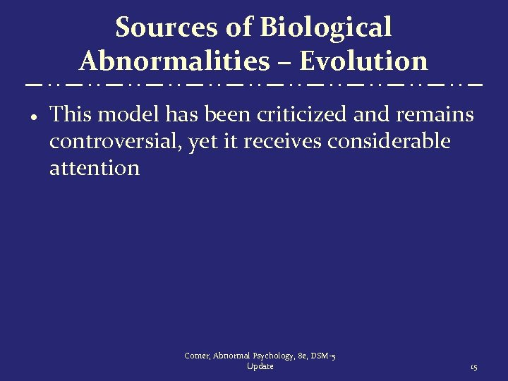 Sources of Biological Abnormalities – Evolution · This model has been criticized and remains