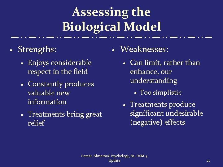 Assessing the Biological Model · Strengths: · · Enjoys considerable respect in the field