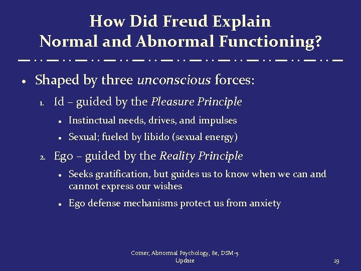 How Did Freud Explain Normal and Abnormal Functioning? · Shaped by three unconscious forces: