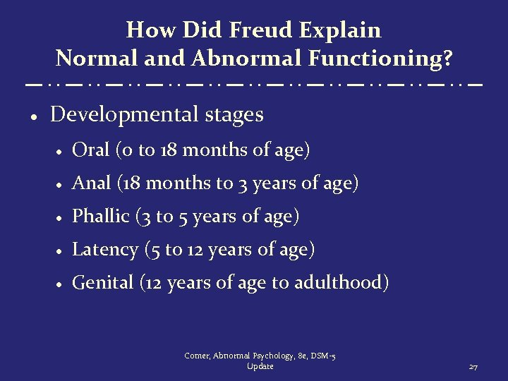 How Did Freud Explain Normal and Abnormal Functioning? · Developmental stages · Oral (0