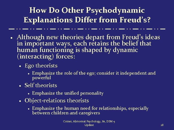 How Do Other Psychodynamic Explanations Differ from Freud's? · Although new theories depart from