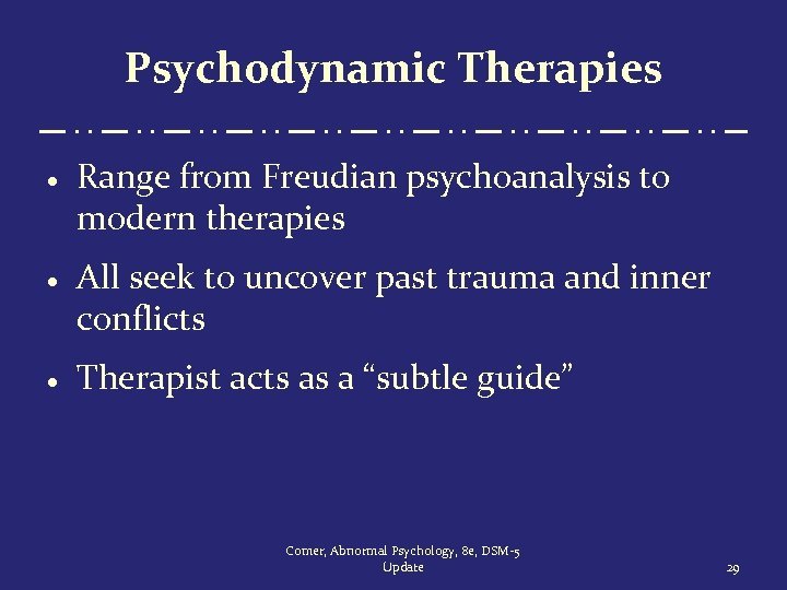 Psychodynamic Therapies · Range from Freudian psychoanalysis to modern therapies · All seek to