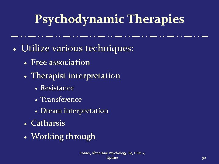 Psychodynamic Therapies · Utilize various techniques: · Free association · Therapist interpretation · Resistance