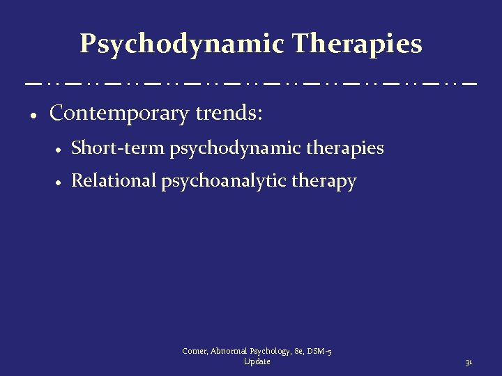 Psychodynamic Therapies · Contemporary trends: · Short-term psychodynamic therapies · Relational psychoanalytic therapy Comer,