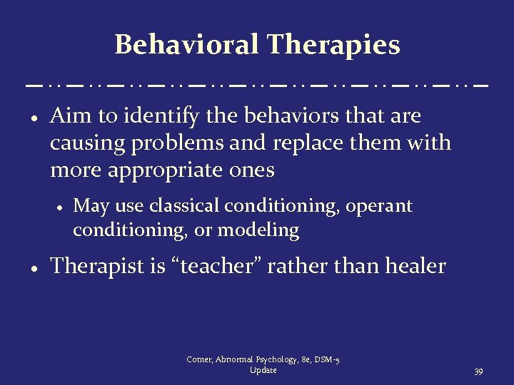 Behavioral Therapies · Aim to identify the behaviors that are causing problems and replace
