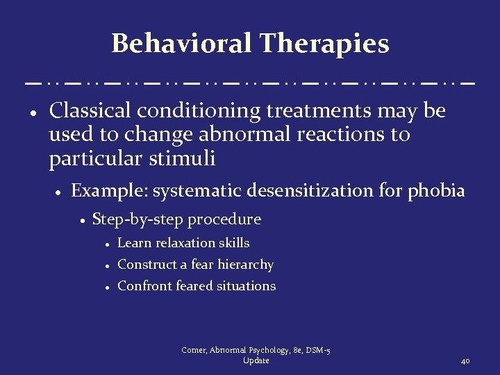 Behavioral Therapies · Classical conditioning treatments may be used to change abnormal reactions to