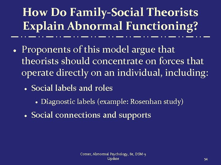How Do Family-Social Theorists Explain Abnormal Functioning? · Proponents of this model argue that