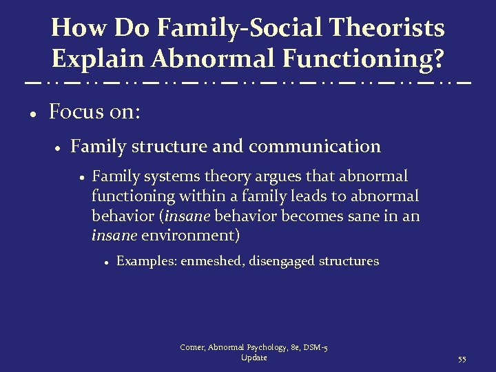 How Do Family-Social Theorists Explain Abnormal Functioning? · Focus on: · Family structure and