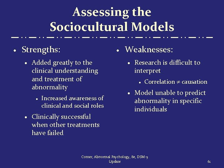 Assessing the Sociocultural Models · Strengths: · Added greatly to the clinical understanding and