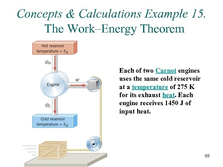 Concepts & Calculations Example 15. The Work–Energy Theorem Each of two Carnot engines uses