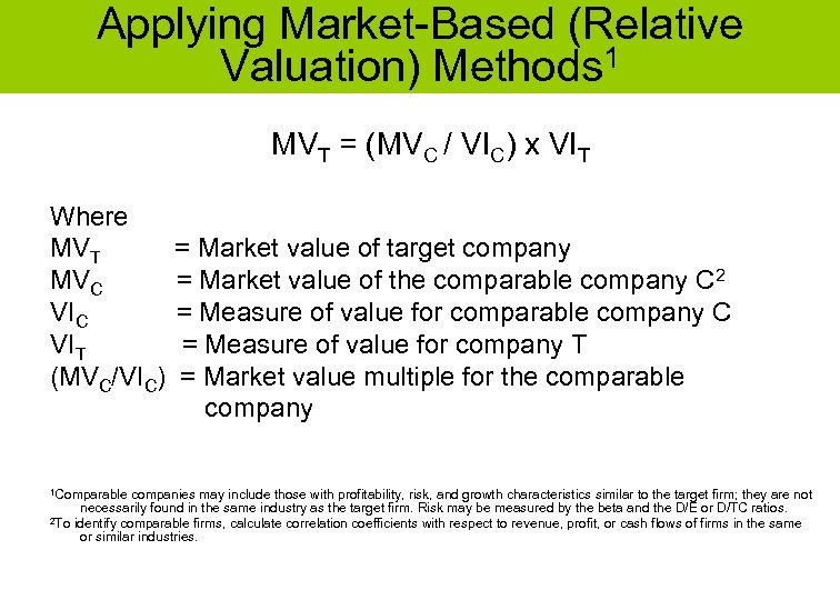Applying Market-Based (Relative Valuation) Methods 1 MVT = (MVC / VIC) x VIT Where