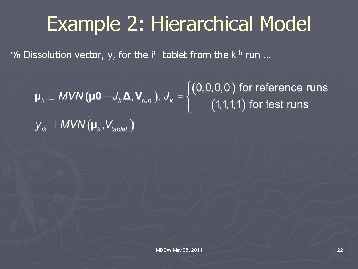Example 2: Hierarchical Model % Dissolution vector, y, for the ith tablet from the