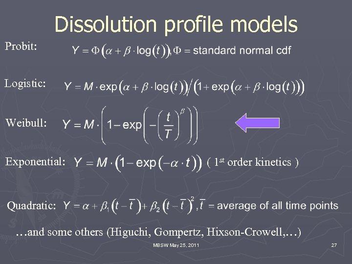 Dissolution profile models Probit: Logistic: Weibull: Exponential: ( 1 st order kinetics ) Quadratic: